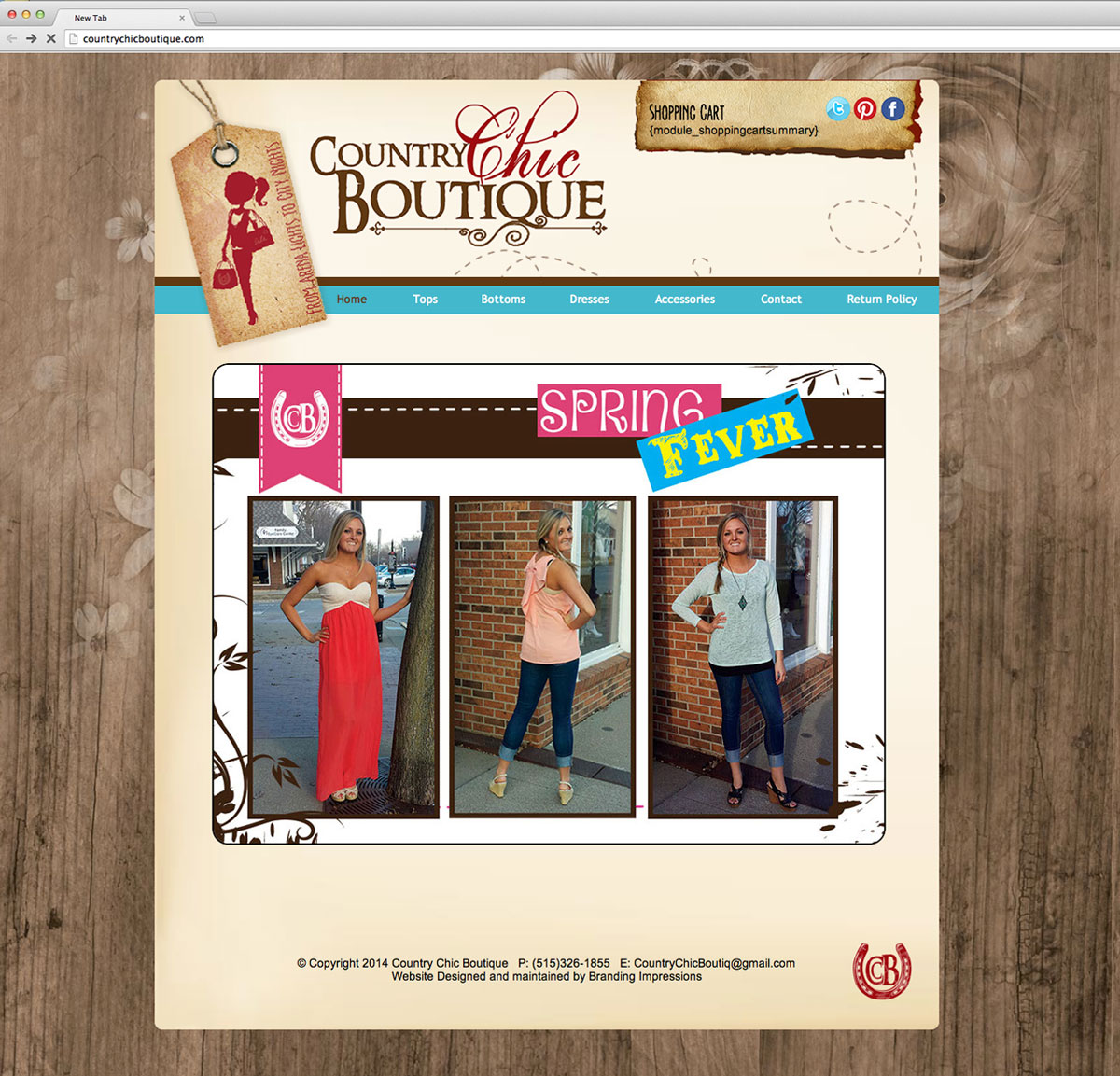 Country Chic Boutique Website